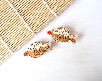 Soy Sauce Fish Brooch, Japanese Food, Laser Cut Plywood Pin