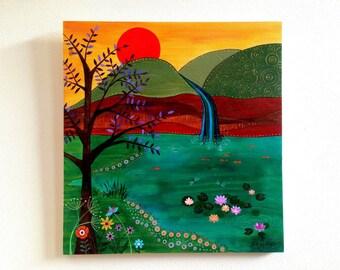 Original Folk Art. Original Painting - Waterfall.
