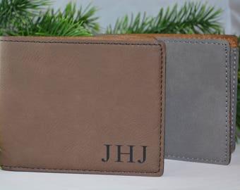 Personalized Bifold Wallet, Vegan Leather, Engraved Wallet, Wallet, Gifts for Men, Groomsmen Gifts, Best Man, Gifts for him, Monogram Wallet