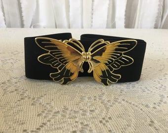 Black Butterfly Belt, Elastic Belt, Cinch Belt, Black Belt, Vintage 1980s Belt