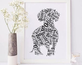 Dachshund Custom Silhouette Print, Your Dog's Name, Dog Lover Gift, Personalized Doxie Dog Art, Dog Memorial, Rainbow Bridge Pet Remembrance