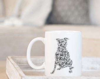 Pitbull Personalized Mug | Pit Bull Custom Gifts | Pitbull Art Silhouette | Pit Bull Mom Mug | Pitbull Mom Gift | Pitbull Memorial Gifts
