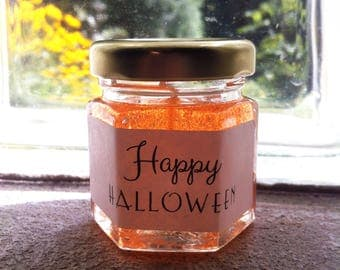 Halloween Candles Personalized Candle Favors Halloween Decorations Pumpkin Pickin Scented Jar Favor Fall Thank You Gift Mini Candles Gel