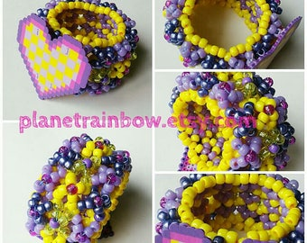 Checkerboard Heart 3X Tall Perler 3D Kandi Cuff - Rave - Festival - Kawaii - Purple - Yellow - Glitter