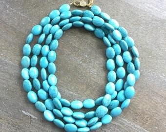 Blue Howlite Opera Length Necklace