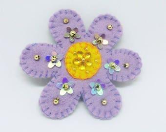 felt flower brooch, Boho flower brooch,  boho jewelry, handmade brooch, flower pin, flower jewelry, purple  flower brooch, hippy brooch