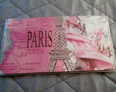 Paris Pink CHECKBOOK COVER fabric & PVC vinyl protector, only one, for top tear checks French Parisian Eiffel Tower Champs Elysee