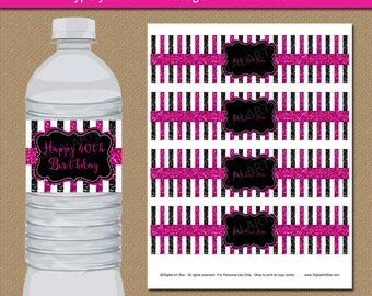 40th Birthday Party Decorations, Adult Birthday Party Favors, Glitter Birthday Water Bottle Labels, Family Reunion Ideas, Black Fuchsia B4