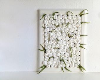 White roses fabric flowers framed home decor