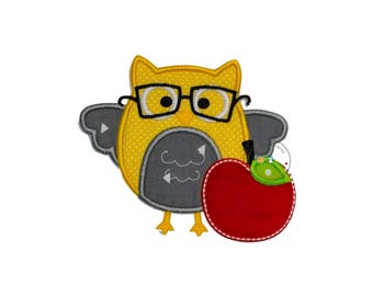 ON SALE NOW School house yellow owl with glasses, owl and read apple machine embroidered heat press patch for clothing, quick shipping appli