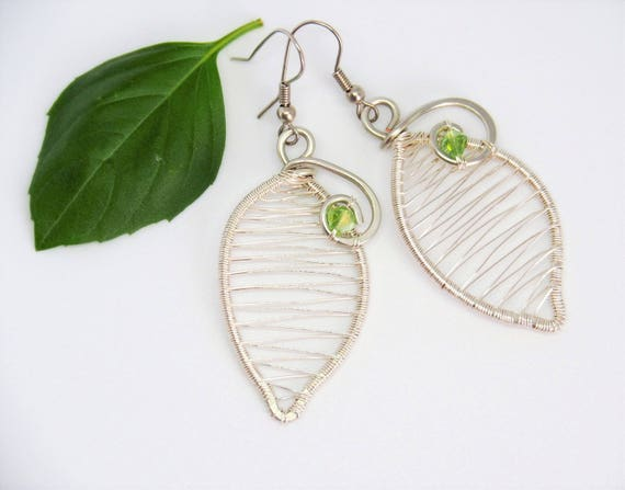 Leaf earrings Wire wrapped Wedding bridal nature jewelry Bridesmaids gift for her mother Anniversary gift Green Silver tone