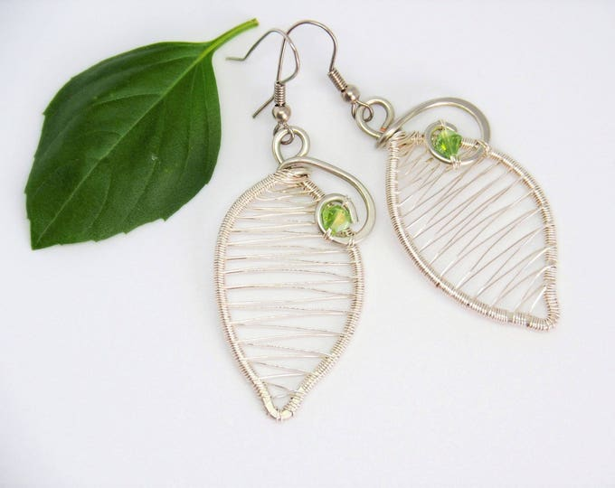 Leaf earrings Wire wrapped Wedding bridal nature jewelry Bridesmaids gift for her mother Christmas gift Anniversary gift Green Silver tone