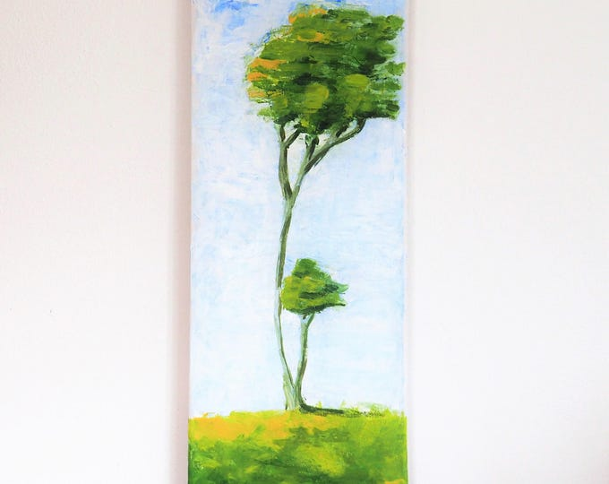 Original Acrylic Painting Canvas art Impressionis Contemporary artwork Tree in the wind Nature Landscape Wall Decoration Gifts for Christmas