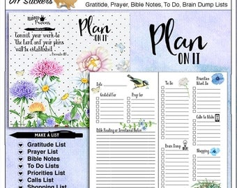 Travelers Notebook Planner Cover & Pages with Lists: Prayer, Gratitude, Bible Notes, To Do, Priorities, Calls, Brain Dump 8.25x4.33 inches