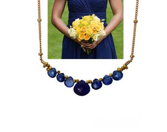 Navy Blue Bridesmaid Gifts. Wedding Color Match Service. Lapis Lazuli and Kyanite Necklace. Multi Gemstone Necklaces.  N2410