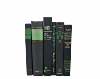Black Decorative books, Green Antique Book Set, Book Bundle Collection, Home Decor, Instant library, Interior Design, Wedding Decoration