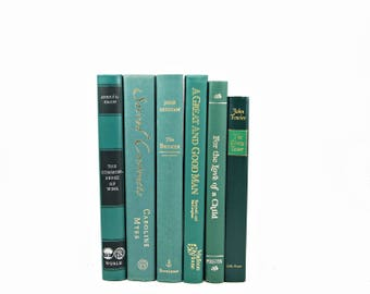 Dark Teal Green  Decorative Books, Book Set, Wedding Decor Centerpiece, Instant Library, Old Books Decoration, BOok Collection, Home decor