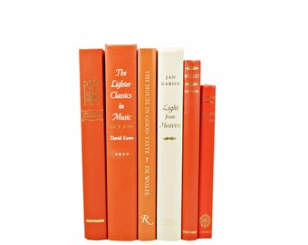 Orange Tangelo Decorative Books, Old Coral Red Book Set, Wedding Decor, Books by Color for Decoration, Photo Props, Home Interior staging