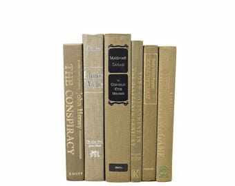 Ecru Brown Decorative Books, Old Antique  BOoks, Beige Book Set, Book Decor, Wedding Centepiece, bookshelf decor, HOme Design