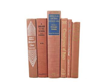 Copper Brown BOoks, Decorative Books, Antique Book Set, Book Stack, BOok COllection, VIntage Book Decor, Instant Library, Bookshelf Decor