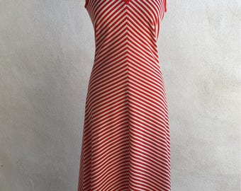 Vintage maxi long dressred white strip by Fred Rothschild sz M