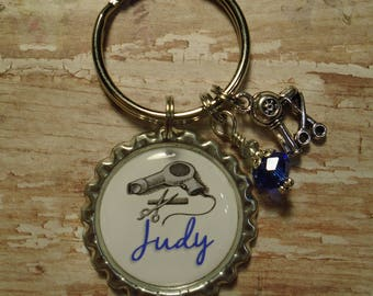 Personalized Hair Stylist key chain with charms