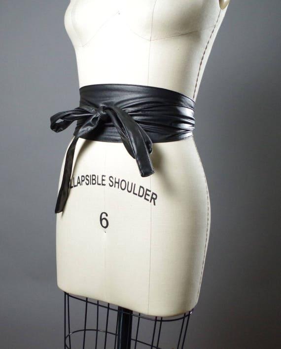 Vegan Leather Obi Belt - Black Leather Obi Belt - Women's Wrap Belt - Double Wrap Obi Belt