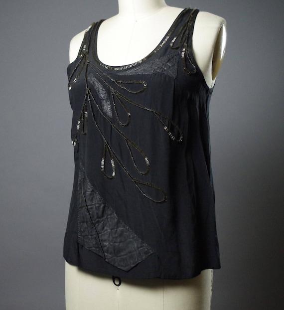 OOAK Black Top - Women's Black Top - Beaded Leather Top