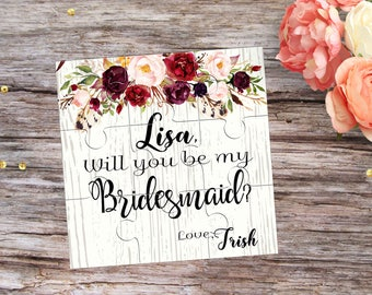 Bridesmaid Puzzle Invitation Will You Be My Bridesmaid Proposal Gift Will You be My Flower Girl Invitation Be My Maid of Honor Proposal