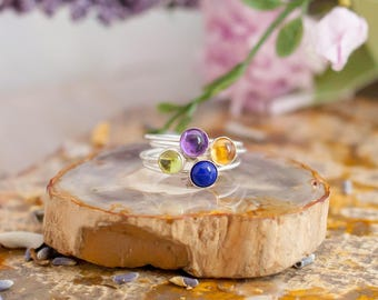 Birthstone Stacking Ring - Sterling Silver Ring - Birthstone Ring - Boho Gem Ring - Gemstone Birthstone
