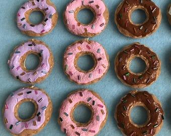 1 Dozen Handmade Felt Mini Donut Ornaments