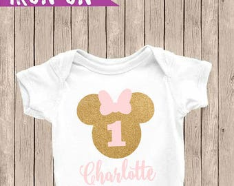 Minnie Mouse Personalized First Birthday Outfit, One Onesie, First Birthday, First Birthday Iron-On, Pink and Glitter Gold, Birthday Iron On