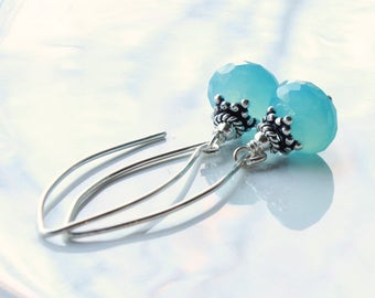 Blue Chalcedony Earrings, Sterling Silver, blue gemstone, boho luxe threader earrings, modern artisan earrings, holiday gift for her, 4459