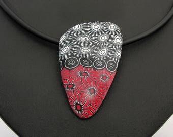 Halskette schwarz und rot aus handgefertigten Polymer Clay, Kette  Millefiori, Millefleur,  Fimo