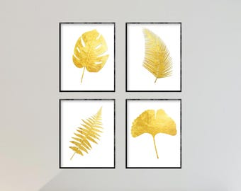 Gold Leaf Gallery Wall Art Set of 4 PRINTABLE Prints INSTANT DOWNLOAD Digital File Tropical Botanical Art Gallery Wall Decor 8x10