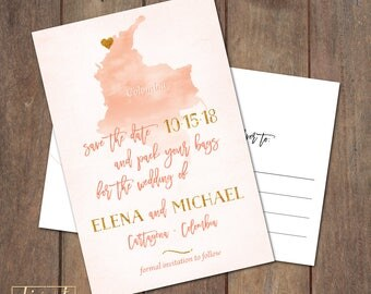 Save the Date Postcard, Save Our Date Postcard, Destination Wedding, Colombia Custom Map Save the Date Postcard - PRINTABLE files