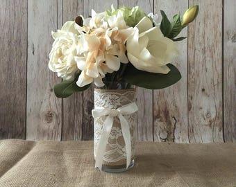 burlap and ivory lace glass vase, wedding, bridal shower, baby shower, home decoration