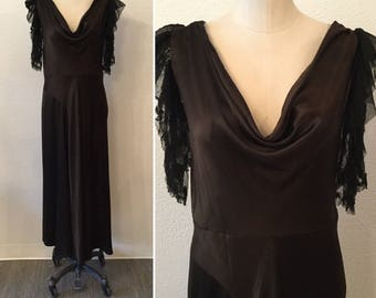 Zelda 30s dress || Vintage silk satin chocolate brown dress || 1930s bias cut evening dress