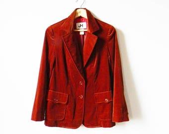Velvet Rust Vintage Blazer / 1970s Velvet Jacket / Cinnamon Spice Velvet Blazer