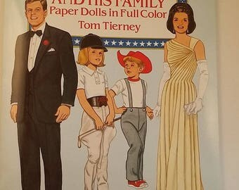 Vintage President John F. Kennedy and Family Paper Doll Book, Historical, Dover 1990, Uncut -- Jackie, Caroline and John Jr., 16 Pages
