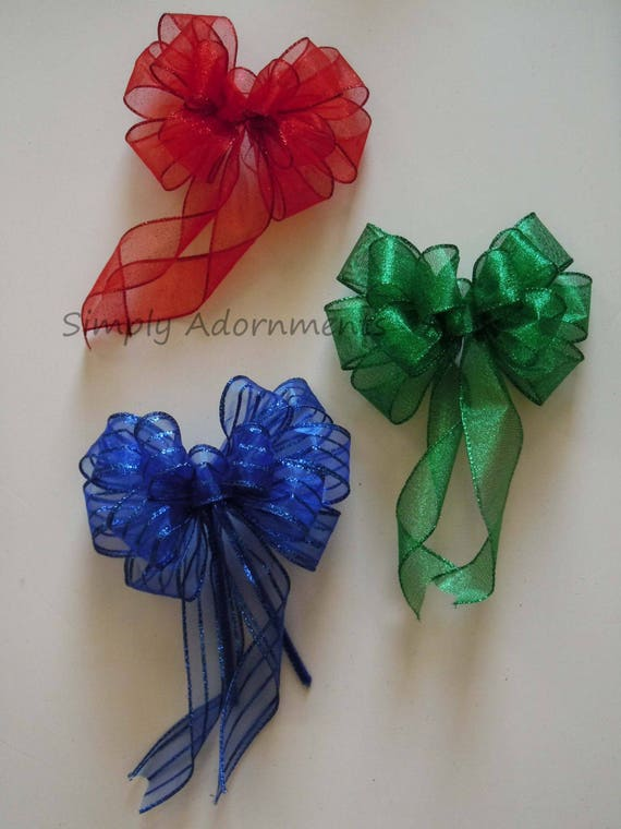 Red Green Blue Ornaments Tree Bow Christmas Wreath Bow Christmas Tree Bow Red Green Wreath Bow Lantern Garland Bow Winter Holidays Gifts Bow