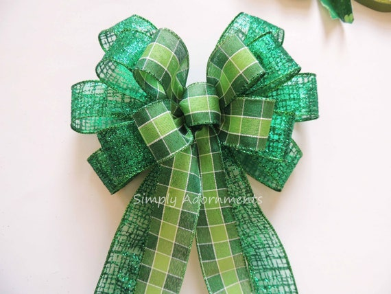 Saint Patrick's Wreath Bow Lime Kelly St. Patrick's Tartan Wreath Bow St. Patrick's Plaid Bow St Patrick door hanger bow St. Patrick's Decor