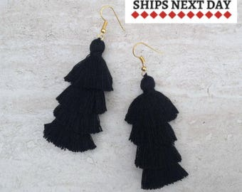 Black Tassel Earrings, Black Drop Earrings, Modern Long Earrings, Black Jewelry, Festival Earrings, Holiday Jewelry, Black Tassels