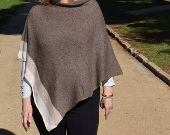 Monochrome drapped neck Womens knit poncho . Stylish Walnut and cream wool Cape Coat. Asymmetric Spring Overcoat. Easter Holidays Gift