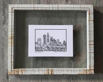 Charlotte North Carolina Skyline - Elle Karel Illustration