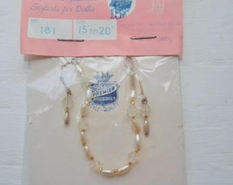 """Vintage NOS Premier Doll Accessories, 15"""" - 20"""" Doll Necklace & Earrings, No. 181, Made In Japan, Unopened Package, Fashion Dolls Necklace"""