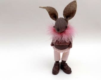 Woollen Plush Bunny  -  Handmade rabbit doll wearing felt pants, woolly pullover and brown plastic shoes.