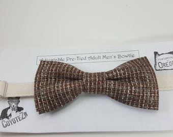 CLEARANCE Basket Weave Men's Bow Tie, Mens Bowtie, Subtle Bowtie, Wedding Bowtie, Rustic Bowtie, Country Wedding, Tan Bow Tie, Dapper