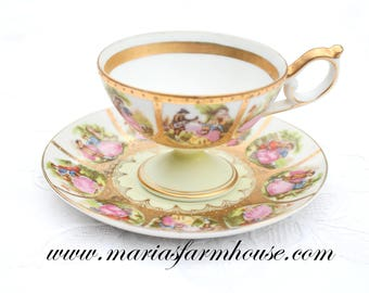 TEA CUP, Porcelain, Pedestal Tea Cup and Saucer, Handpainted, Arnart, Beehive Backstamp, Royal Vienna & Fragonard Inspired, Courting Couple