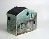 Tiny Home , Mountain Chalet , Turquoise Tiny House , Miniature Home